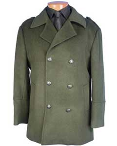 SKU#SS-158 Mens Winter Peacoat double breasted coat Olive Green