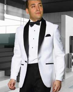 SKU#SS-95 White Tuxedo with a Black Shawl Lapel Dinner Jacket Blazer Sportcoat 1 Button