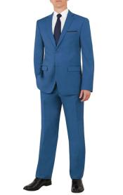 SKU#MK683 Mens Notch Lapel Flat Front Pants Cobalt Blue ~ Indigo ~ Teal Suit