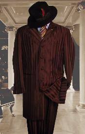SKU#HIN2059 Shiny Brown And Brown Stripe ~ Pinstripe tone on tone Shadow Stripe ~ Pinstripe Mens Fashion Dress Zoot Suits