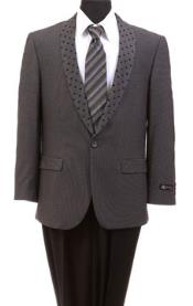 SKU#MK702 Men's Tazio Dotted Shawl Lapel Slim Fit Fashion Jacket Gray Tuxedo Jacket / Blazer Mens / Tux / Dinner Jacket Looking