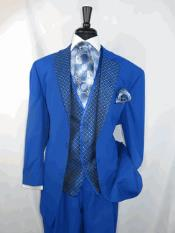 Men's 2 buttons Single Breasted Suit Vested Jacket Royal Blue Tuxedo