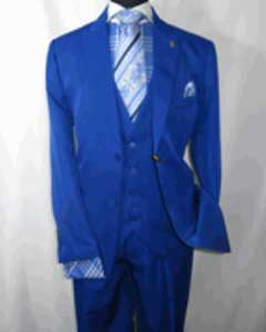 SKU#SS-72R4 Royal Blue Vested Mens Suit 2 Button Single Breasted Peaked Lapel Suit