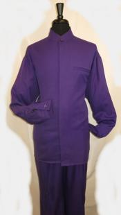 SKU#MK719 Mens Mandarin Banded Shirt and Matching Solid Pleated Pants No Collar Shirt with 1 Besom Pocket Purple Walking Set