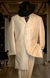SKU#HIN2059 Shiny Ivory~OFF White~Cream tone on tone Shadow Stripe ~ Pinstripe Mens Fashion Zoot Suit