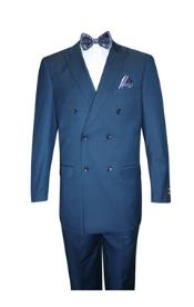 SKU#SS-7514 Mens Super 150's Extra Fine Classic Double Breasted Suit Cobalt ~ Indigo