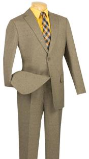 SKU#MK736 Mens Vinci Textured Weave 2 Piece Poplin Discount Suit Taupe