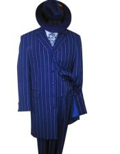 Mens Vested Royal Blue &amp Bold Pronounce White Pinstripe Fashion Zoot Dress Suits for