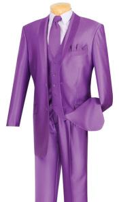 SKU#MK841 Mens Shiny Sharkskin Satin Flashy 2 Button Purple ~ Violet suit Vested 3 Piece
