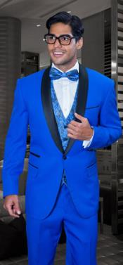 SKU#MK860 Mens Two Toned Lapel 3 Piece Modern Fit Royal Tuxedo Suit Blazer Dinner Jacket