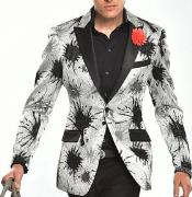 Mens Regular Splash Print Fashion Sport Coat Blazer Peak Lapel Silver Tuxedo Formal Looking Jacket Floral flower Paisley Shiny pattern