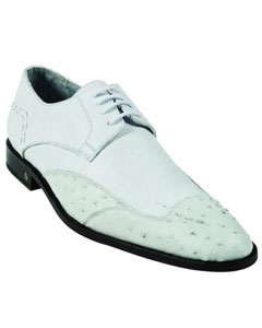 SKU#MK927 Mens Ostrich Full Quill Skin White Dress Shoe