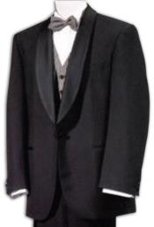 Mens Tuxedo Shawl Collor Super 120s Wool Suit + Shirt + Any Color Bow Tie