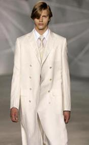 SKU#RM1033 Double Breasted Cream/ivory/off white Peacoat Mens Wool blend Topcoat Overcoat