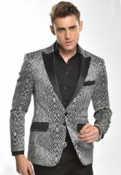 Mens Angelino Woven and Polyster Fabric Fashion Tuxedo Jacket / Blazer Mens / Tux / Dinner Jacket Looking W.Python Silver Tuxedo Formal Looking