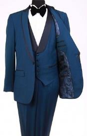 SKU#RM1112 Mens Bryan Michaels Flat Front Trousers Shawl Collar Indigo ~ Teal ~ Indigo ~ Royal Blue One Button Tuxedo
