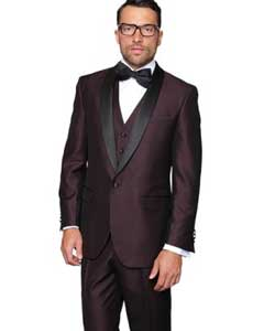 SKU#SS-9635 Men's Plum 3-Piece Burgundy ~ Wine ~ Maroon Shawl Lapel Vested Suit Dinner Jacket Tuxedo