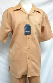 SKU#RM1300 Mens Casual Single Chest Pocket Salmon Linen Outfits Short sleeve Shirt + Pants