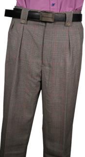 SKU#RM1320 Mens Veronesi Black/White Plaid Wool Wide Leg Dress Pants