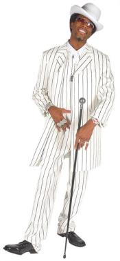 Nardoni Beautiful Mens Vested White & Bold Black Pinstripe Gangester Zoot Suit  Pre order For September/1/2020
