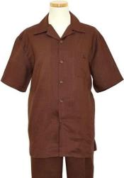 SKU#RM1347 Mens Linen 2 Piece Summer Walking Casual Suit Short sleeve Shirt + Pants Brown