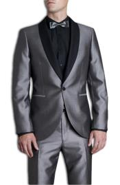 Silver Tonic Dress Suit with Contrast Black Marcella Shawl Collar