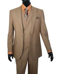 SKU#SS-8G3 Vittorio Mens Taupe Mini Plaid Vested Fashion Suit