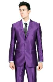 SKU#RM1505 Mens Slim Fit Purple Shiny Sharkskin Sateen Looking Suit 2 Buttons