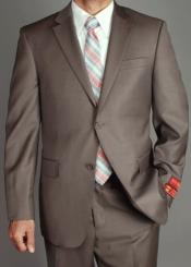 SKU#RM1512 Mens Mantoni US classic Walnut Taupe Notched Lapels Suit