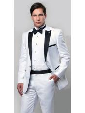 SKU#RA96 Mens Slim Fit Tuxedo with Black Peak Lapel White,Black