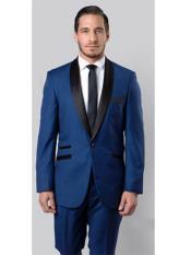 SKU#RA53 Mens Slim Fit Tuxedo Shawl Lapel Black,Blue