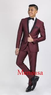 SKU#RM1869 Mens Burgundy ~ Wine ~ Maroon Suit or Tuxedo Black Lapeled Dinner Jacket