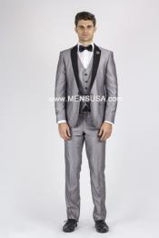 Mens Silver Grey Tux ~ Gray Tuxedo Black Lapel Wedding Groom Suit