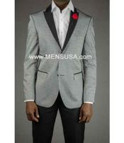 2 Button Mens Gray Tuxedo Silver Grey Tux ~ Wedding Black Lapel Groom Suit