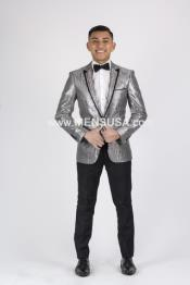 1 Button Mens Gray Tuxedo Silver Grey Tux ~ Wedding Black Lapel Groom Suit