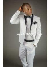 SKU#SM146 2 Button Shawl Lapel Slim Fit Tuxedo With Center Vent White