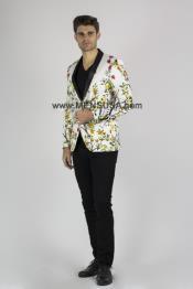 Button Shawl Lapel Floral
