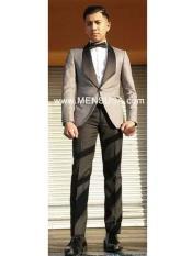 SKU#SM154 Mens Grey Tux ~ Gray Tuxedo Black Lapel Wedding Groom Suit