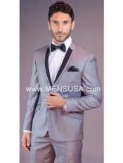 SKU#SM158 Mens Black Lapel Grey Tux ~ Gray Tuxedo Wedding Groom Suit