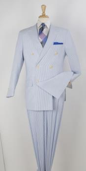 SKU#SD54 Men's 2 Piece Seersucker Suit - Double Breasted Blue$165