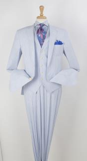 SKU#SD14 Mens 3 Pieces Seersucker Summer Cotton Vested Blue$199