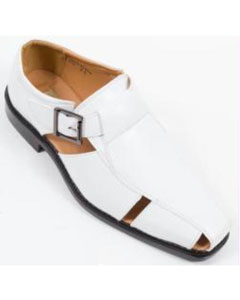 SKU#SM325 Shoes Slip On Sandal With Buckle White $65