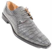 SKU#SM329 Crocodile Grey Alligator Exotic Print Skin Lace Up Shoe $99