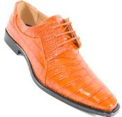 SKU#SM328 Crocodile Print Orange Skin lace Up Shoe