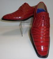 SKU#SM324 Cherry Crocodile Alligator Exotic Print Skin Lace Up Shoe $99
