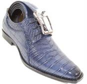 SKU#SM327 Crocodile Print Skin lace Up Shoe Navy