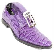 SKU#SM322 Purple Crocodile Print Skin lace Up Shoe