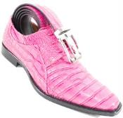 SKU#SM326 Crocodile Print Skin lace Up Fuxia Shoe