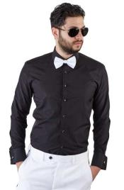SKU#SM347 Black Spread Collar Slim Fit French Cuff Tuxedo Shirt