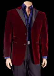 Mens Burgundy Sophisticated High Grade Velvet Tuxedo Blazer With Black Lapel Jacket